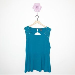 Torrid Teal Studded Open Back Peplum Tank Top